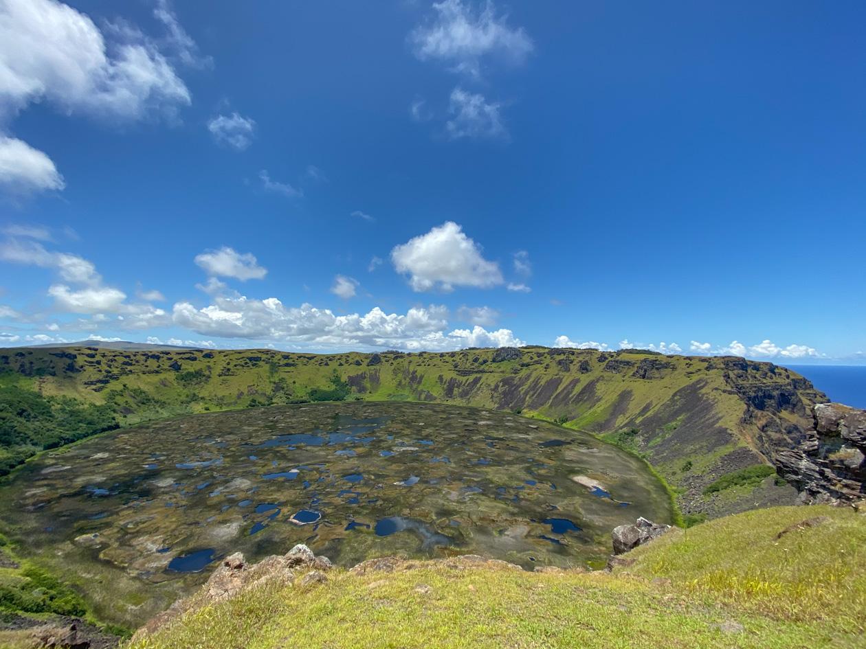 mooi uitzicht over de krater van de Rano Kau